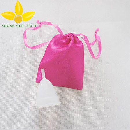 Medical Grade Women Silicone Menstrual Cup with Cloth Bag